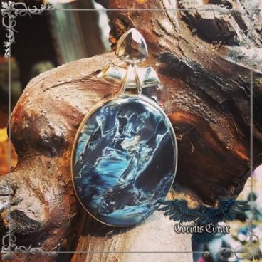 Création Pietersite Bleue et Topaze Fumée, pendentif - Boutique ésotérique en ligne