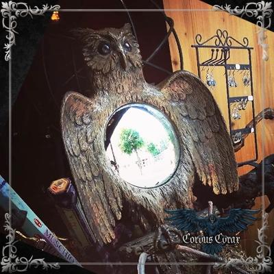 Miroir Oeil de Sorcière - Décors Chouette - Boutique ésotérique Corvus Corax