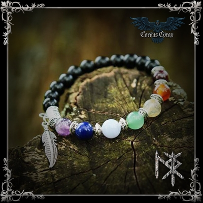 Bracelet de guérison 7 Chakras - Métal Argenté - Produit Maison - Boutique ésotérique Corvus Corax