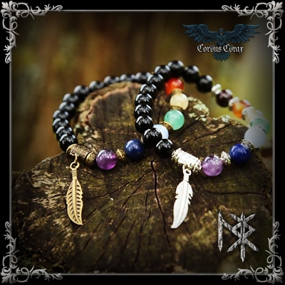 Bracelet de guérison 7 Chakras - Bronze - Produit Maison - Boutique ésotérique Corvus Corax